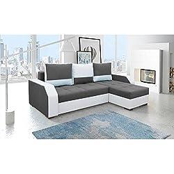 JUSThome Aris Sofá esquinero chaise longue función de cama Sofá-cama Tela Piel sintética Tamaño: 90x245x150 cm Blanco Gris Brazo derecho