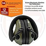 Best Electronic Hearing Protections - Green slimline electronic shooting ear defenders / Clay Review