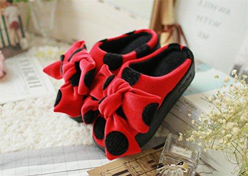 Mhgao da donna Fashion Bow camoscio pantofole creativo casa in autunno e in inverno caldo antiscivolo pantofole Red