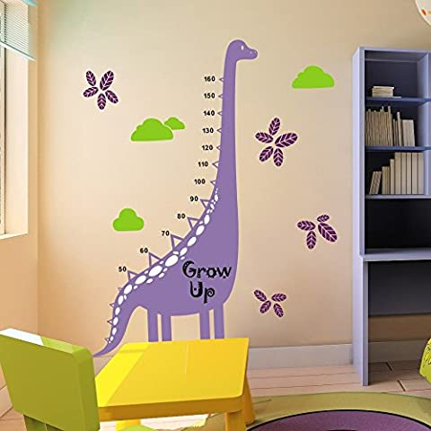 Growth Chart Decal Height Chart Wall Decal Vinyl Nursery Wall Sticker Dinosaur Height Growth Chart Great For Nursery Or Kids Room 3(dinosaur:Hydrangea Purple;stripe,toes:White;words,numbers:Black;leaves:Violet;clouds:Lime-tree