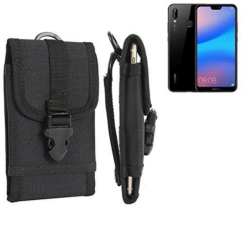 K-S-Trade Für Huawei P20 Lite Gürteltasche Gürtel Tasche Holster Schutzhülle Extrem Robuste Handy Schutz Hülle Smartphone Tasche Outdoor Handyhülle für Huawei P20 Lite Schwarz