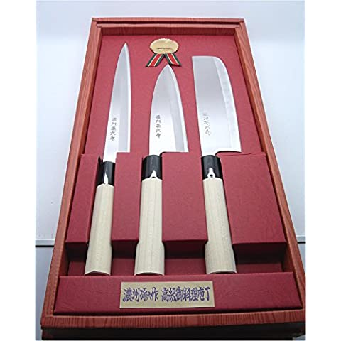 Set di coltelli giapponese composto da Deba, Nakiri e Sashimi,