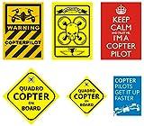DasFlugbuch.de - Set di 10 Adesivi per Drone e Copter Piloten, 5 Motivi, Resistenti alle intemperie