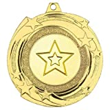 Lapal Dimension Star Cyclone Medal (1in Centre) - Goud - 2in