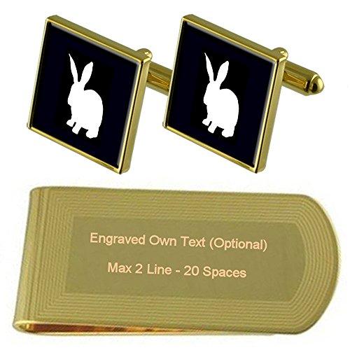 Kaninchen Gold-Manschettenknöpfe Geldscheinklammer Gravur Geschenkset -