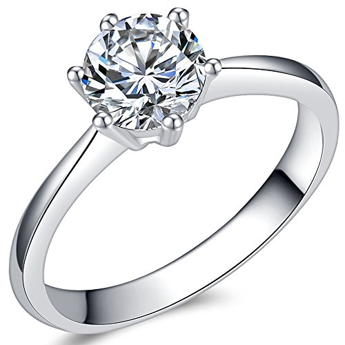 1.0 Carat Classical Stainless Steel Solitaire Engagement Ring (Silver, I)
