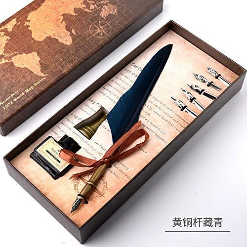 Kalligrafietinte Feder Feder Messingstab marineblauer Glass Ink Pen