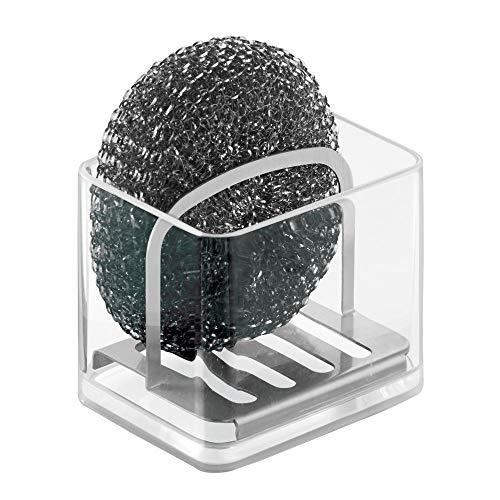 mDesign porte éponge cuisine - porte éponge évier idéal pour le rangement des éponges et grattoirs - porte éponge utilisable dans la salle de bain - couleur : transparent/satin