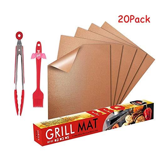 Himamk BBQ Grillmatte, 20 Pack Wiederverwendbar Grillmatten, Backmatte und BBQ Antihaft Grillmatte für Fleisch, Fisch und Gemüse 40x33 cm,Brass