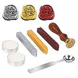 Stamp Seal Dichtung Wachs Retro, klassische, DaSinKo Antik Wachs-Siegel-Stempel Kit Set mit Gold Rot Silber haftet kreative Stempelproduktion Suite (Good Luck)