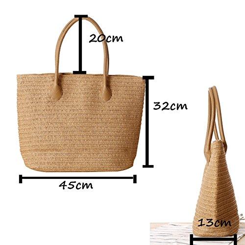 YOUJIA Donne Borse Di Spiaggia Paglia Intrecciata Handbag Borse Shopper Tote Borsa Spalla #1 beige