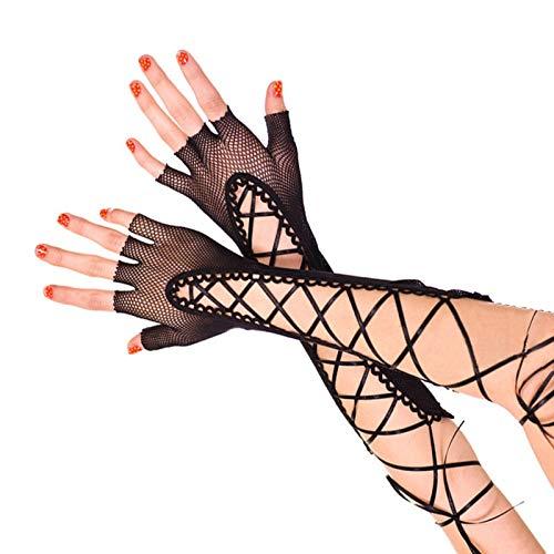 Schneiden Fischnetz (Ywlanlantrading Handschuh 12 Paar Frauen Netzstrumpfhose Fingerlose Lange Handschuhe Schwarz 10 Zoll (Color : Black))