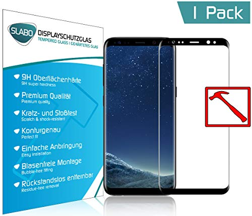 Slabo® Premium Panzerglasfolie für Samsung Galaxy S8 Full Cover Echtglas Displayschutzfolie Schutzfolie Folie Tempered Glass KLAR - 9H Hartglas - Rahmen Schwarz