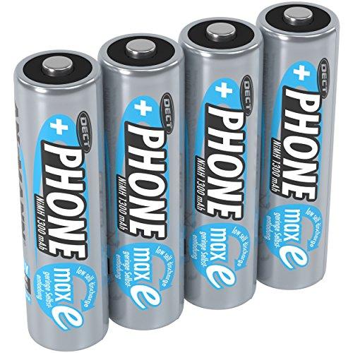 ANSMANN Akku AA Mignon 1300mAh 1,2V NiMH für Schnurlostelefon 4 Stück - Wiederaufladbare Batterie mit geringer Selbstentladung maxE - Akkus ideal für schnurloses Telefon DECT - Rechargeable Battery
