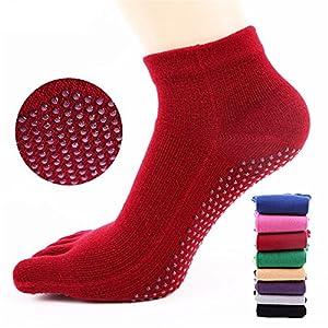 Yoga Socken Fünf-Finger-Baumwolle Silikonkautschuk Pure Farbe für Frauen Pilates, Anti-Rutsch-Slip-Socken
