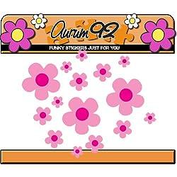 26 pegatinas de flores de margarita rosa para coche, portátil, ventanas