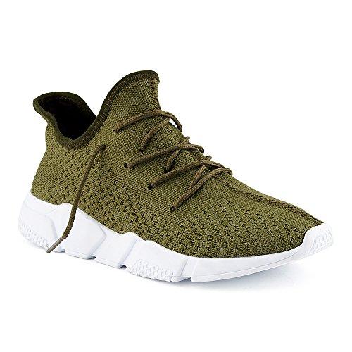 FiveSix Herren Damen Sneaker Sportschuhe Laufschuhe Textilschuhe Freizeitschuhe Strick Schnürschuhe Low-Top Unisex Schuhe Khaki EU 36