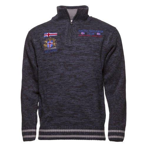 ICEWEAR Herren-Thor-Pullover aus Acryl mit Viertel-Reißverschluss und hohem Rippstrickkragen | mit aufgestickten Emblemen auf Brust- und Rückenpartie | in Zwei Farbgebungen | entworfen in Island
