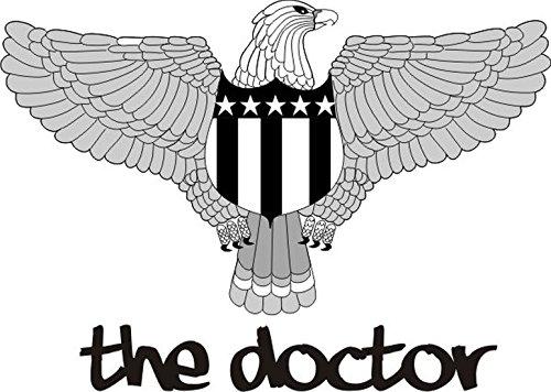 T-Shirt E1194 Schönes T-Shirt mit farbigem Brustaufdruck - Logo / Grafik / Design - Adler mit Wappen und Schriftzug - THE DOCTOR Schwarz