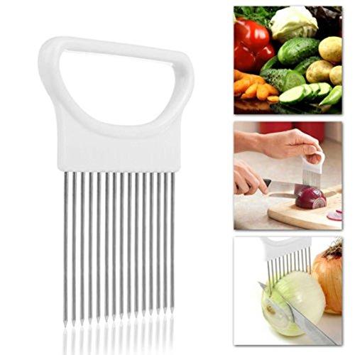 Zwiebelhalter Set mit Edelstahlseife,KIMODO Zwiebel Halter Gemüse Kartoffel Cutter Slicer Gadget Edelstahl-Gabel-Slicing Geruch Entferner-Küche-Werkzeug-Hilfe-Gadget Chopper Cutting