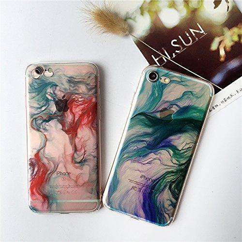 Coque iPhone 7 Plus Housse étui-Case Transparent Liquid Crystal Gouache Art en TPU Silicone Clair,Protection Ultra Mince Premium,Coque Prime pour iPhone 7 Plus-style 6 4