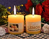 #1: Collectible India Set Of 2 Lemon Fragrance Pillar Candle Long Lasting Burning Scented Candles Home Office Table Centerpieces Birthday Parties Decor