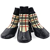 KEESIN Haustier-Hundewelpen Wasserdichte Anti-Rutsch-Sportsocken Schuhe Stiefel, Gummisohle, Paw-Schutz für Small/Medium/Large Hund (#3, Plaid)