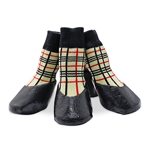 KEESIN Haustier-Hundewelpen Wasserdichte Anti-Rutsch-Sportsocken Schuhe Stiefel, Gummisohle , Paw-Schutz für Small / Medium / Large Hund (#5, Plaid)