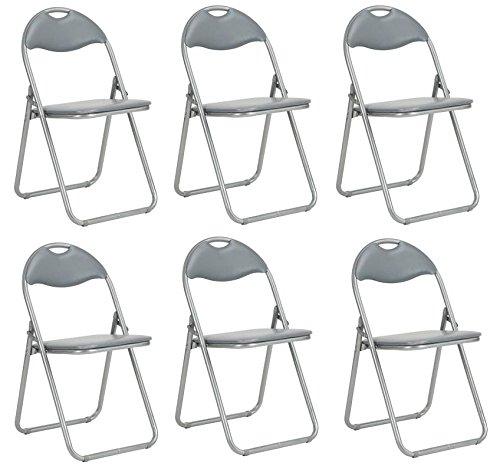 Set 6 Klappstuhl Bürostuhl, Kunstleder Esszimmer grau