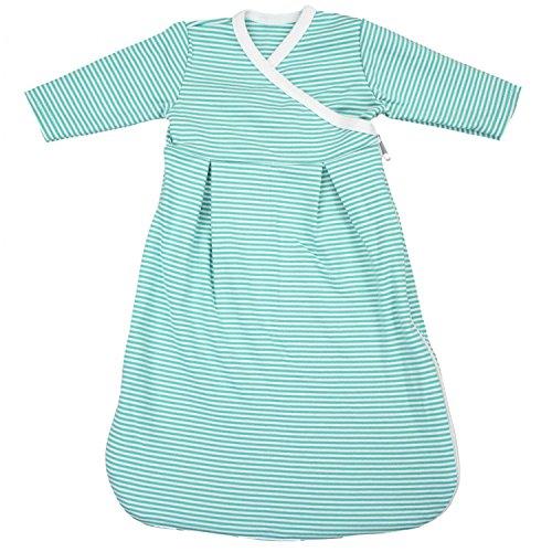 TupTam Baby Unisex Langarm Innenschlafsack, Farbe: Streifenmuster Grün, Größe: 50/56