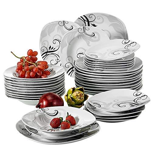 VEWEET Tafelservice \'Zoey\' aus Porzellan 36 teilig | Tellerset für 12 Personen | Mit je 12 Dessertteller, Tiefteller und Flachteller ...