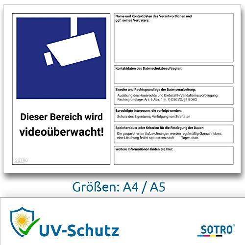 DSGVO Videoüberwachung Schild / Aufkleber, BDSG - Video Symbol nach EU Datenschutz Grundverordnung 2018 und Datenschutzgesetz, Video Symbol nach DIN 33450 Hinweis Datenschutzbeauftragter (A4 (297 × 210 mm))