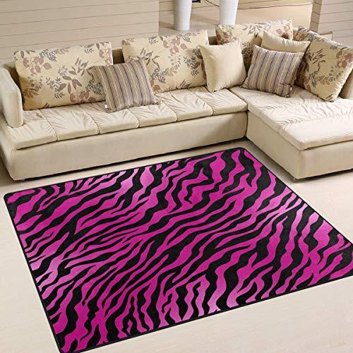 Teppich 80 x 58 Zoll rosa Zebra Animal Print gestreift für Wohnzimmer Schlafzimmer (Rosa Zebra-print-teppich)