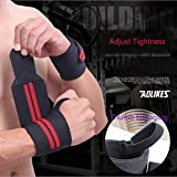 #7: AGE CARE 1Pcs Of Weightlifting Wristband - Professional Sport Training Bands -Hand Wrist Straps -Wraps Guards For Fitness Gym. (Red)