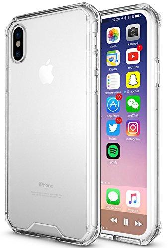 Funda iphone x, Peyou Premium Clear Case para iphone x, con [Amortiguación] [Protección Contra Caídas] Para choques TPU y [Anti-Scratch] Hard PC Back - TRANSPARENT (2017) (claro)