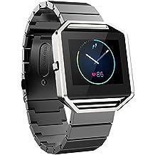 Fitbit Blaze Banda de Reloj, FOTOWELT de Lujo de Moda Stailess Acero Correa de Pulsera Banda de Reemplazo para Fitbit Blaze Smart Fitness Reloj -Negro