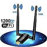 WLAN Stick,1200Mbps USB 3.0 WLAN Adapter,WiFi dongle Dual Antenne Dual Band 5GHz 433mbps/2.4GHz 150Mbps für PC,Desktop,Laptop mit Windonws,MAC