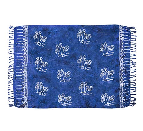 MANUMAR Damen Pareo blickdicht, Sarong Strandtuch in royal blau schwarz mit Palmen Motiv, XXL Übergröße 225x115cm, Handtuch Sommer Kleid im Hippie Look, für Sauna Hamam Lunghi Bikini