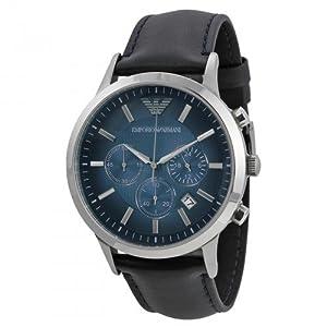 Emporio Armani AR2473 - Reloj de cuarzo para hombre, con correa de cuero, color azul de Emporio Armani