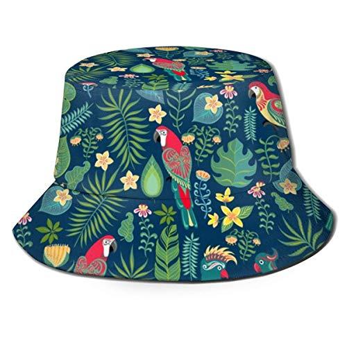 DDOBY Helle Papageien, Tropische Blumen und Blätter Unisex Mode Print Bucket Hat Sommer Fischer Cap Packable Outdoor Sonnenhut - Wandern, Strand, Sport -