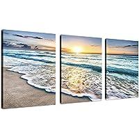 3 Panel Lienzo Arte de la pared para la decoración del hogar Mar Azul Puesta de sol Pintura de la imagen de la playa en la playa Paisaje marino Listo para colgar 12x16pulgadasx3 enmarcado