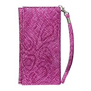 Jo Jo A5 Bali Leather Wallet Universal Pouch Cover Case For ZTE Axon Mini Exotic Pink
