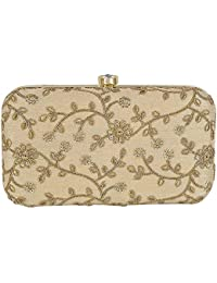 9eeb75f7565 Tooba Handicraft Party Wear Hand Embroidered Box Clutch Bag Purse For  Bridal, Casual, Party