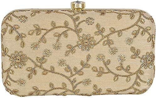 Tooba Women's Clutch (Gold Mirror Self Aari 6X4_1, Gold)