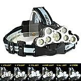 Wiederaufladbare LED Stirnlampe mit 6 Modi 7 * XML-T6 + 2 * R2 Lampe LED Kopflampe Super Bright Taschenlampe Einstellbare Kopf Licht für Klettern Radfahren Angeln Wandern Camping