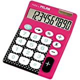 Milan 150610DBRBL - Calculadora de sobremesa, 10 dígitos, color rosa y negro