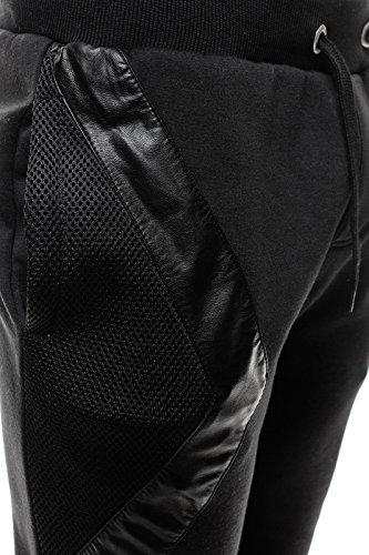 OZONEE Uomo Pantaloni Sportivi Cascante HOT RED 2231 Schwarz_JS-K15