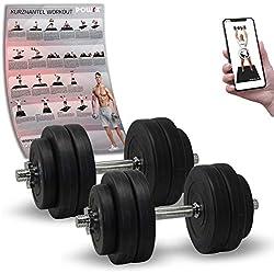POWRX - Mancuernas 30 kg Set (2 x 15 kg) + PDF Workout (Negro)