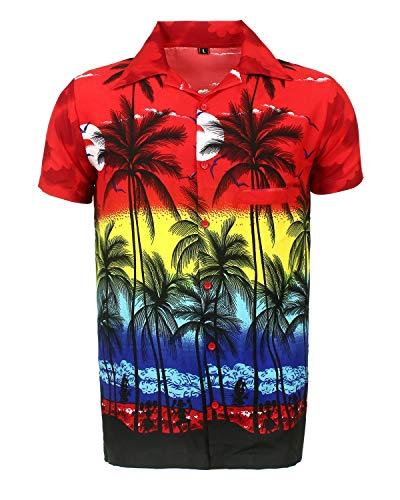 SAITARK Camisa Hawaiana para Hombre, diseño de Palmeras, para la Playa, Fiestas, Verano y...