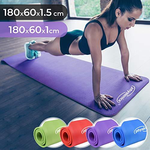 Physionics Yogamatte - 180 x 60 cm, 1.0/1.5 cm dick, rutschfest, inkl. Tragegurt, Farbwahl - Gymnastikmatte, Fitnessmatte, Trainingsmatte für Yoga, Pilates, Gymnastik (Violett, 180x60x1cm)